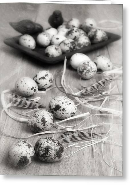 Wooden Table Greeting Cards - Speckled Quail Eggs Greeting Card by Amanda And Christopher Elwell