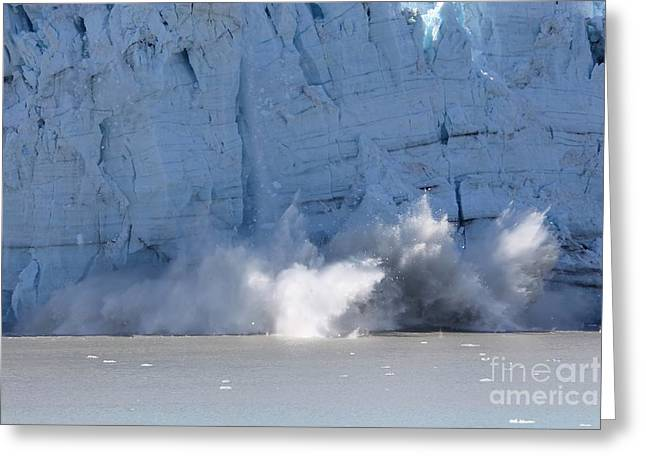 Alaska Photography Greeting Cards - Spectacular Calving Glacier Greeting Card by Sophie Vigneault