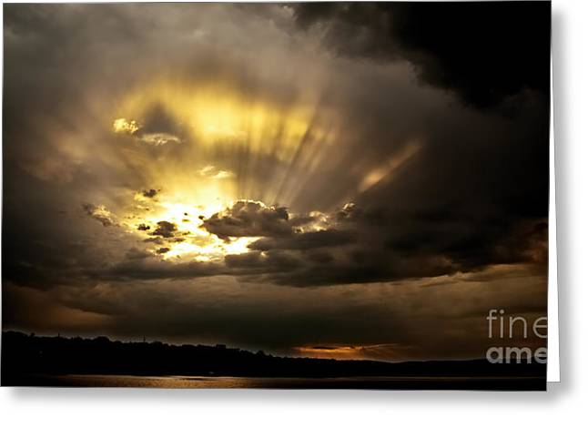 Surises Greeting Cards - Spectacular Crepuscular - Sunset Greeting Card by Geoff Childs