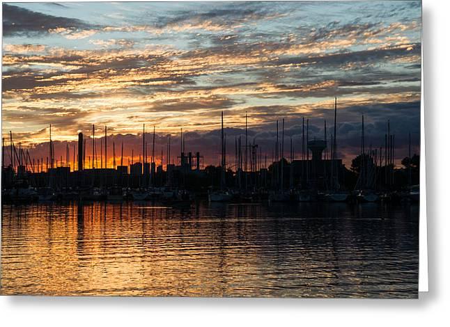 Blue Sailboat Greeting Cards - Spectacular Sky - Toronto Beaches Marina Greeting Card by Georgia Mizuleva