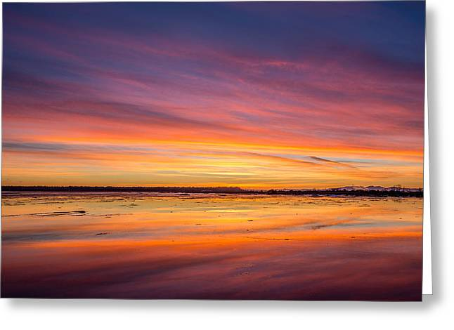 Boundary Waters Greeting Cards - Spectacular sunset at Boundary Bay BC Greeting Card by Pierre Leclerc Photography