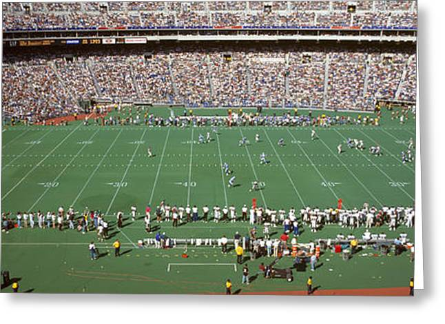 Veterans Stadium Greeting Cards - Spectator Watching A Football Match Greeting Card by Panoramic Images