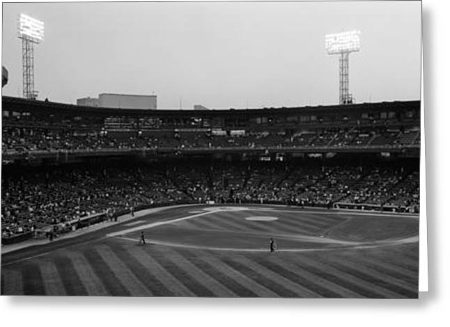Baseball Parks Photographs Greeting Cards - Spectators In A Baseball Park, U.s Greeting Card by Panoramic Images