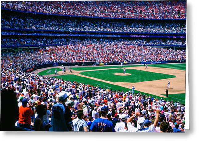 Spectators In A Baseball Stadium, Shea Greeting Card by Panoramic Images