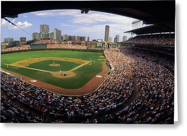 Chicago Cubs Stadium Greeting Cards - Spectators In A Stadium, Wrigley Field Greeting Card by Panoramic Images