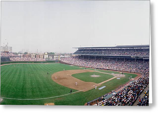 Chicago Cubs Stadium Greeting Cards - Spectators Watching A Baseball Mach Greeting Card by Panoramic Images