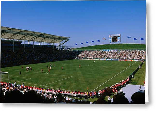 Spectators Watching A Soccer Match, Usa Greeting Card by Panoramic Images