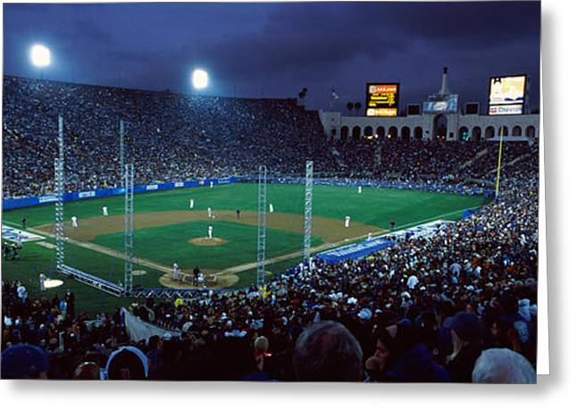 Baseball Parks Photographs Greeting Cards - Spectators Watching Baseball Match, Los Greeting Card by Panoramic Images