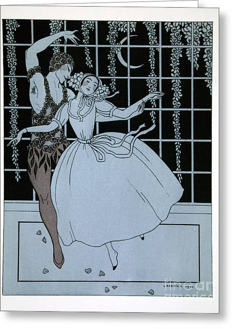 Dance Ballet Roses Greeting Cards - Spectre de la Rose Greeting Card by Georges Barbier