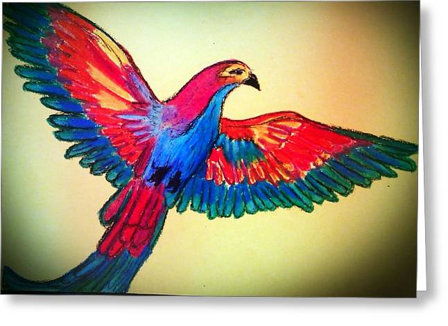 Flying Bird Pastels Greeting Cards - Spectrum Greeting Card by Eliza Paul