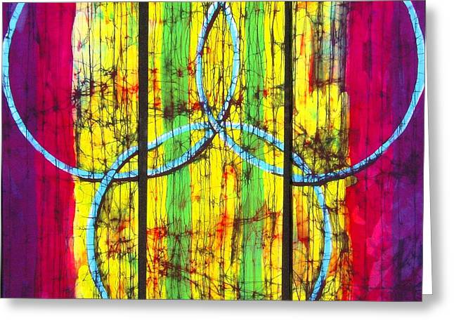 Ring Tapestries - Textiles Greeting Cards - Spectrum Greeting Card by Kay Shaffer