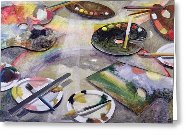 Plates Paintings Greeting Cards - Spectrum Of Artists Palettes, 2003 Greeting Card by Charlotte Moore