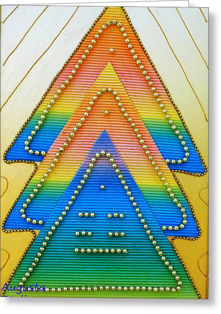 Perspective Mixed Media Greeting Cards - Spectrum Trees Greeting Card by Augusta Stylianou