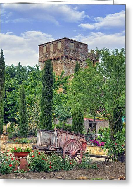 Pienza Greeting Cards - Spedaletto - Tuscany castle Greeting Card by Joana Kruse