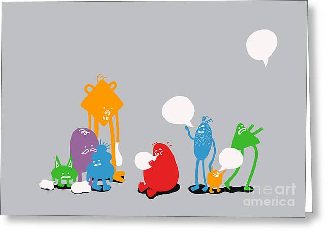 Creature Greeting Cards - Speech Bubble Greeting Card by Budi Kwan