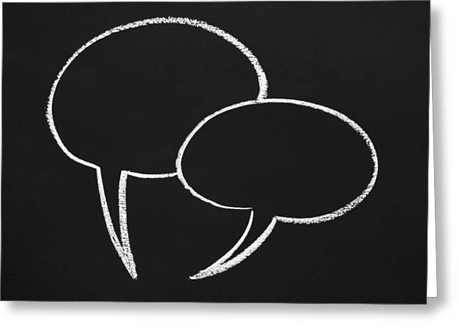 Speech Bubbles On A Chalboard Greeting Card by Chevy Fleet