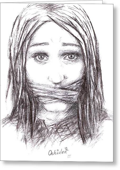 Silence Drawings Greeting Cards - Speechless Greeting Card by Orhidea Katarova