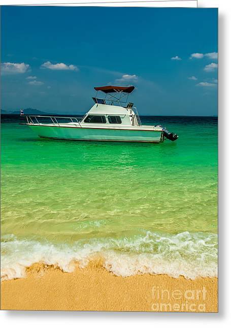 Charters Greeting Cards - Speed Boat Greeting Card by Adrian Evans