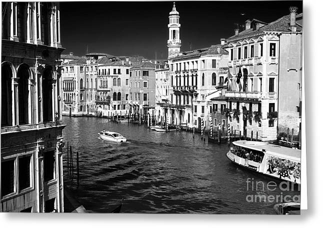 Boats On Water Greeting Cards - Speed Boat on the Grand Canal Greeting Card by John Rizzuto