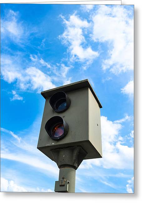 Police Traffic Control Photographs Greeting Cards - Speed camera Greeting Card by Frank Gaertner