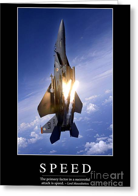 F-15 Aircraft Poster Greeting Cards - Speed Inspirational Quote Greeting Card by Stocktrek Images