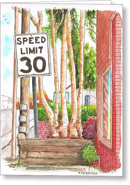 No Limits Greeting Cards - Speed Limit 30 sign in Laguna Beach - California Greeting Card by Carlos G Groppa
