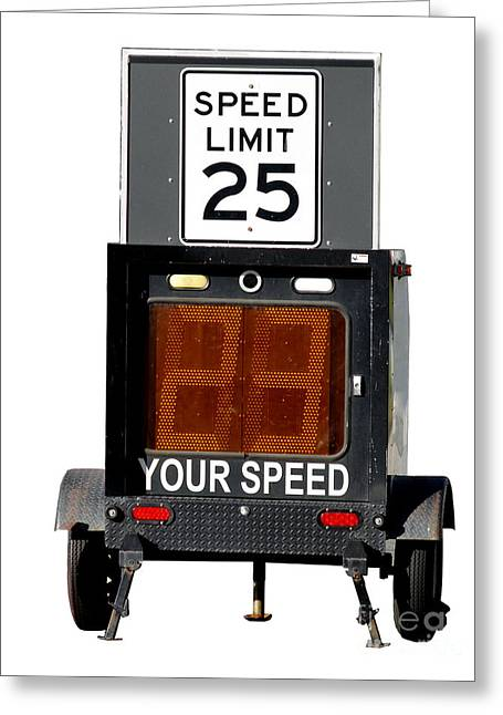 Police Traffic Control Greeting Cards - Speed Limit Monitor Greeting Card by Olivier Le Queinec