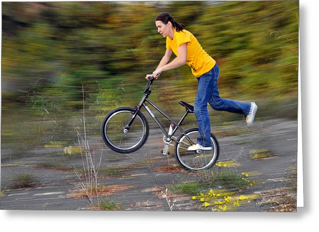 Speed - Monika Hinz Doing A Wheelie On Her Bmx Flatland Bike Greeting Card by Matthias Hauser