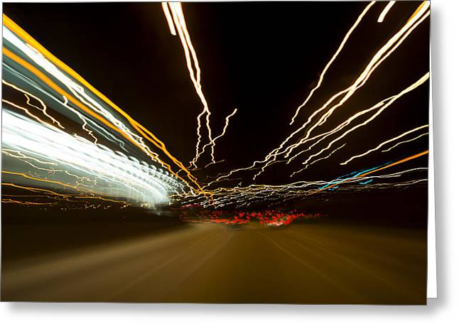 Highway Lights Greeting Cards - Speed Greeting Card by Sebastian Musial