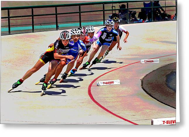 Speed Trials Greeting Cards - Speed Skaters Greeting Card by Mike Flynn