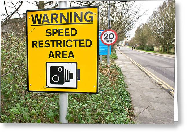 Legislation Greeting Cards - Speed warning Greeting Card by Tom Gowanlock