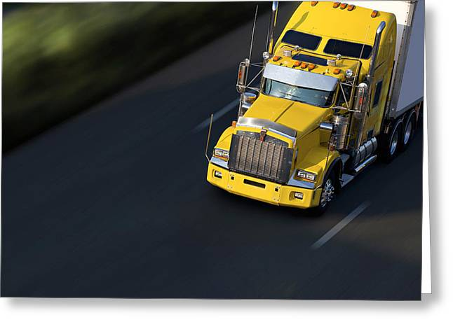 Highway Pyrography Greeting Cards - Speed Yellow Semi-truck On Highway Greeting Card by Gilles Lougassi