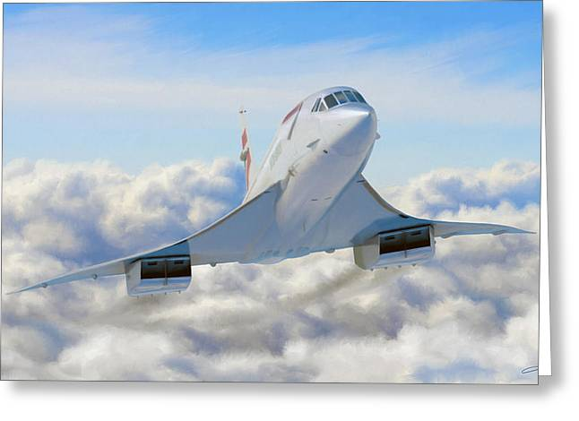 Concorde Greeting Cards - Speeding Above the Clouds Greeting Card by Dale Jackson