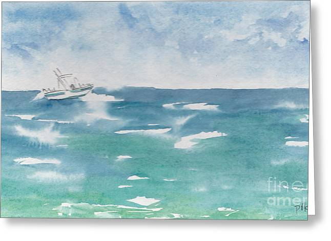 Viridian Greeting Cards - Speeding Across The Sea Greeting Card by Pat Katz