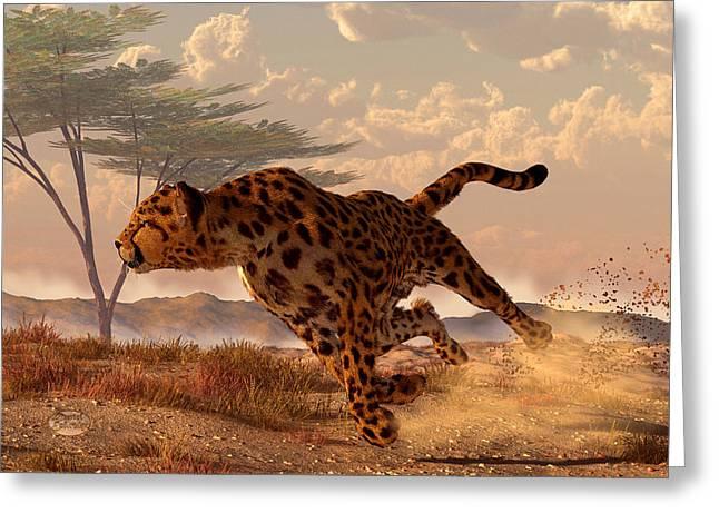 Run Down Greeting Cards - Speeding Cheetah Greeting Card by Daniel Eskridge