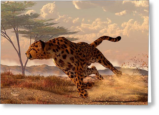 Leopard Running Greeting Cards - Speeding Cheetah Greeting Card by Daniel Eskridge