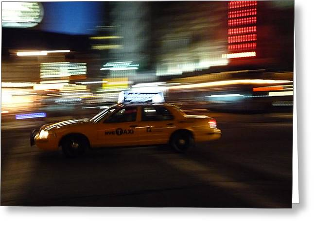 Speeding Taxi Greeting Cards - Speeding Taxi NYC Greeting Card by David Cook