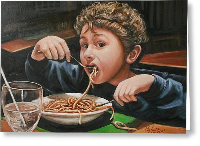 Spaghetti Boy Greeting Card by Melinda Saminski
