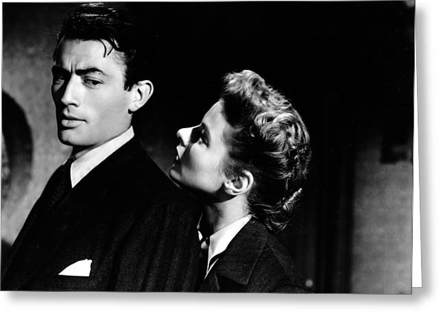 1945 Movies Greeting Cards - Spellbound - Ingrid Bergman and Gregory Peck Greeting Card by Nomad Art And  Design