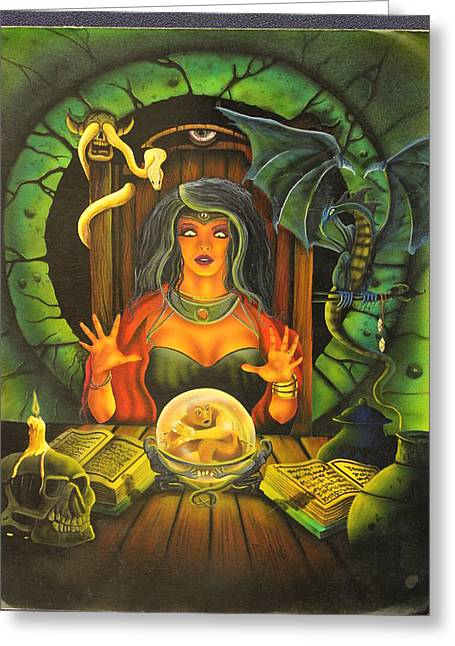 Dungeons Drawings Greeting Cards - Spellcaster Greeting Card by Gary Reising