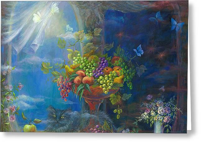 Merging Paintings Greeting Cards - Spells Greeting Card by Vladimir Nazarov