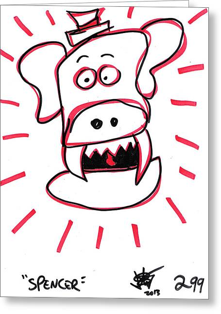 Puppies Drawings Greeting Cards - Spencer Greeting Card by Jera Sky
