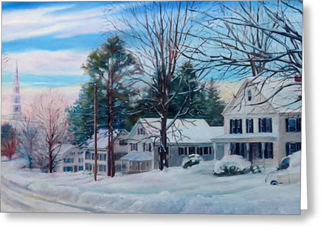 Snowy Evening Greeting Cards - Spencers Snowy Main Street Greeting Card by Linda Spencer