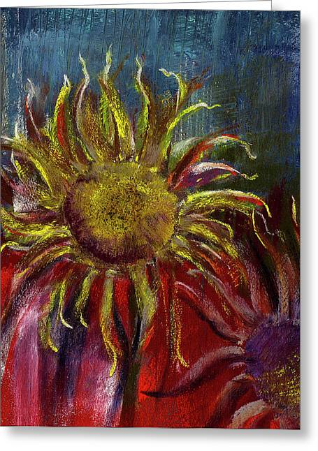 Sunflowers Pastels Greeting Cards - Spent Sunflower Greeting Card by David Patterson