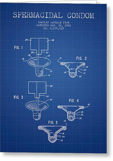 Pregnancy Greeting Cards - Spermacidal condom patent from 1986 - Blueprint Greeting Card by Aged Pixel