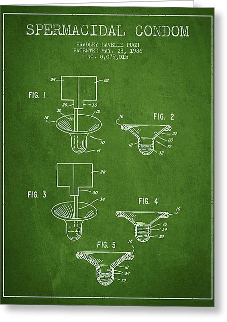 Intercourse Greeting Cards - Spermacidal condom patent from 1986 - Green Greeting Card by Aged Pixel