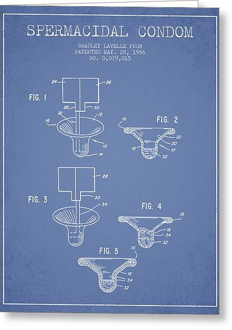 Pregnancy Greeting Cards - Spermacidal condom patent from 1986 - Light Blue Greeting Card by Aged Pixel