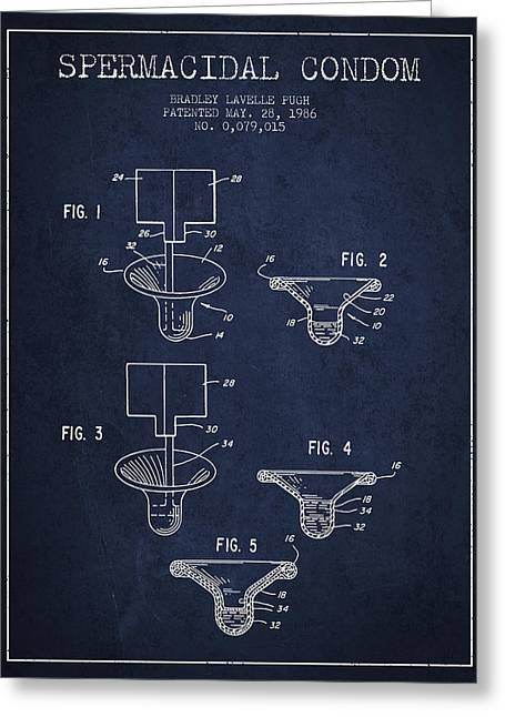 Intercourse Greeting Cards - Spermacidal condom patent from 1986 - Navy Blue Greeting Card by Aged Pixel