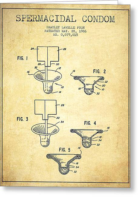 Spermacidal Condom Patent From 1986 - Vintage Greeting Card by Aged Pixel