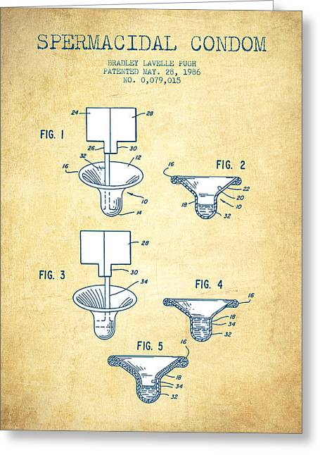 Pregnancy Greeting Cards - Spermacidal condom patent from 1986 - Vintage Paper Greeting Card by Aged Pixel